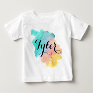 Niedliches Regenbogen Watercolorbaby-Namen-Shirt Baby T-shirt