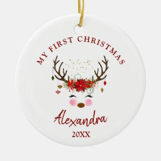 Niedliches Ren-Baby-1. Weihnachtsverzierung Keramik Ornament