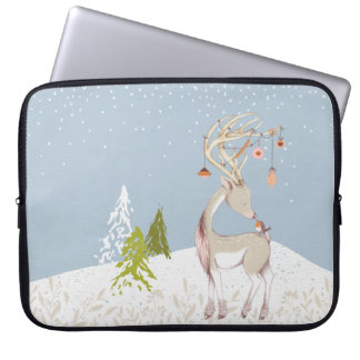 Niedliches Ren und Robin im Schnee Laptop Sleeve