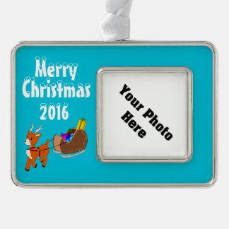 Niedliches Ren-Weihnachtskundenspezifische Rahmen-Ornament Silber