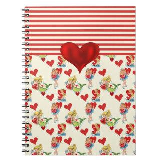 Niedliches Retro Girly Valentine-Rot-Herz Spiral Notizblock