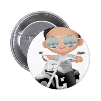 Niedliches RockStar auf Motorrad Runder Button 5,7 Cm