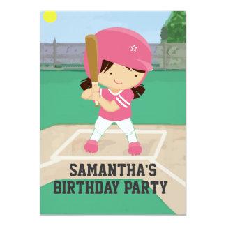 Niedliches rosa Baseball-Mädchen-Geburtstags-Party 12,7 X 17,8 Cm Einladungskarte