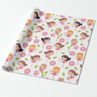 Niedliches rosa Blumen-Mädchen-Verpackungs-Papier Geschenkpapier
