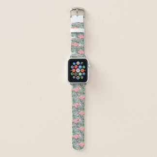 Niedliches rosa Flamingo-Palmblatt-Muster Apple Watch Armband