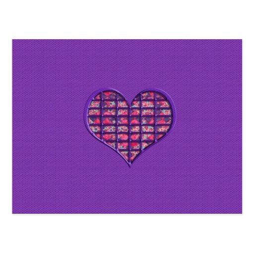 Niedliches rosa Girly Herz-materieller Blumenentwu Postkarte