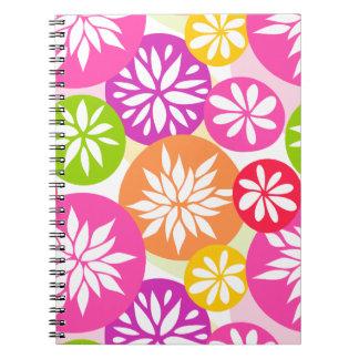 Niedliches rosa grünes und orange Blumen Notizbuch Spiral Notizblock