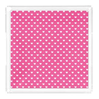 Niedliches rosa Herz-Muster Acryl Tablett