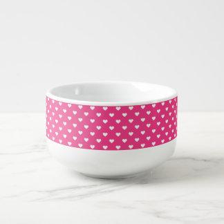 Niedliches rosa Herz-Muster Große Suppentasse