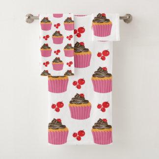 Niedliches rosa Kuchen-und Kirschmuster Badhandtuch Set