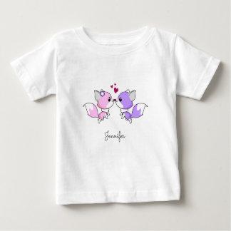 Niedliches rosa lila kawaii foxes baby t-shirt