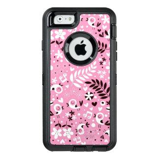 niedliches rosa Muster der Vögel und der Blumen OtterBox iPhone 6/6s Hülle