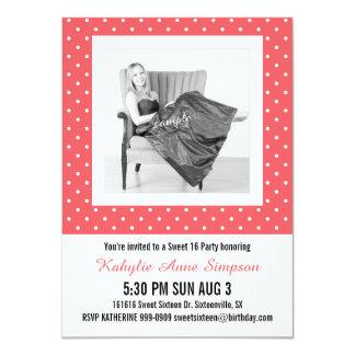 Niedliches rosa Party des Punkte-Foto-Bonbon-16 11,4 X 15,9 Cm Einladungskarte