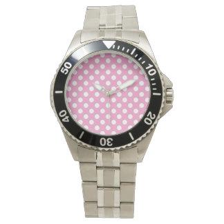 Niedliches rosa Polka-Punkt-Muster Armbanduhr
