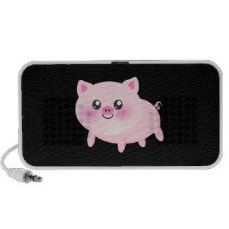 Niedliches rosa Schwein auf Schwarzem Mobile Lautsprecher