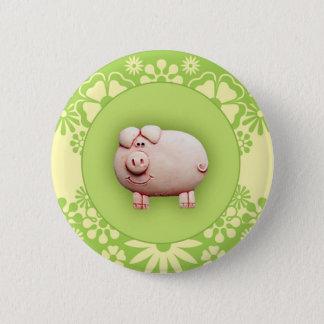 Niedliches rosa Schwein Runder Button 5,7 Cm
