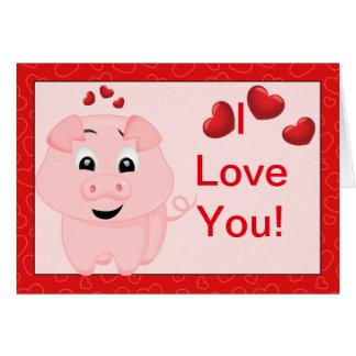 Niedliches rosa Schwein und Liebe der Herz-I Sie Karte