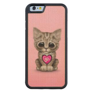 Niedliches rosa Yoga-Liebe-OM-Kätzchen Bumper iPhone 6 Hülle Ahorn