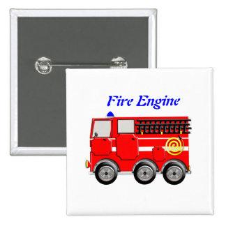 Niedliches rotes Feuer-Motor-Jungen-Knopf-Abzeiche Quadratischer Button 5,1 Cm
