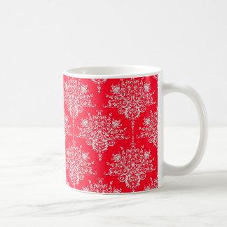 Niedliches rotes und weißes Blumendamast-Muster Kaffeetasse
