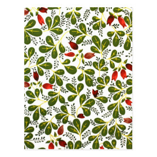 Niedliches rotes Vintages Blumenmuster Postkarte