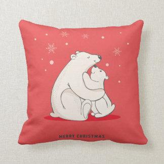 Niedliches rotes Weihnachtspolare Bären Kissen