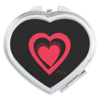 Niedliches rotes wenig Herz Schminkspiegel