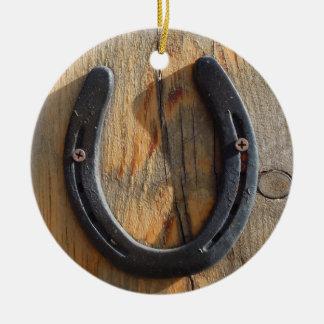Niedliches rustikales Western-viel Glück-hölzerner Keramik Ornament