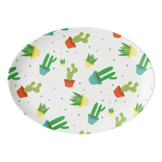 Niedliches saftiges Kaktuspolka-Punktmuster Porzellan Servierplatte