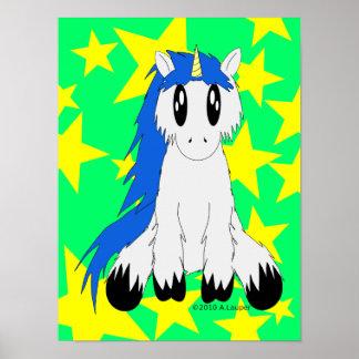 Niedliches schäbiges Unicorn-Plakat (blau) Poster