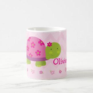 Niedliches Schildkröte-Rosa-personalisierte Tasse