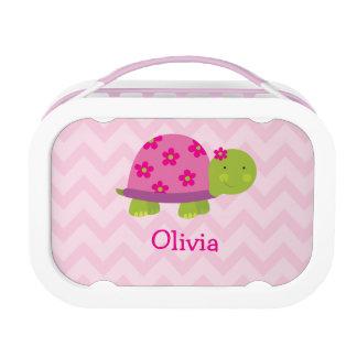 Niedliches Schildkröte-Rosa personalisierter Yubo Brotdose