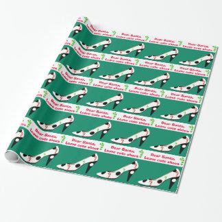 Niedliches Schuh-Weihnachten rot und grün Geschenkpapier
