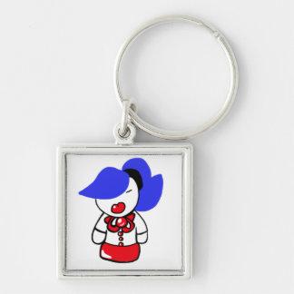 Niedliches Schulmädchen Keychain Silberfarbener Quadratischer Schlüsselanhänger