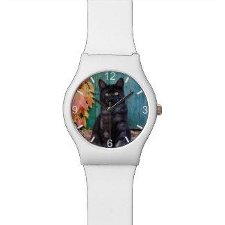 Niedliches schwarze Katzen-Kätzchen mit blauer Tür Armbanduhr