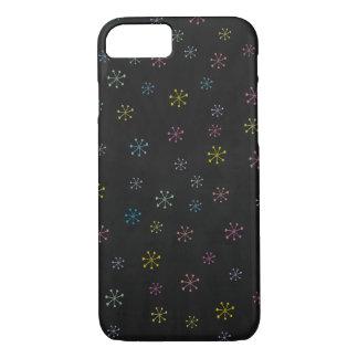 Niedliches schwarzes Blumen-Gekritzel-Muster iPhone 8/7 Hülle