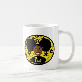 Niedliches schwarzes Cartoon-Mädchen Fino Kaffeetasse