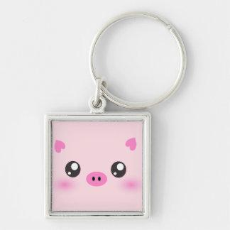 Niedliches Schwein-Gesicht - kawaii Minimalismus Schlüsselanhänger