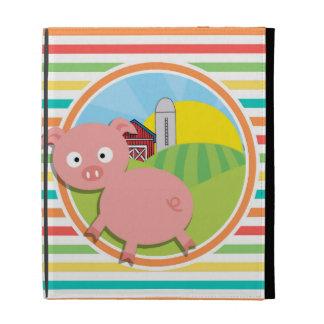 Niedliches Schwein; Helle Regenbogen-Streifen
