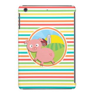 Niedliches Schwein; Helle Regenbogen-Streifen iPad Mini Hülle
