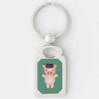 Niedliches Schwein in der Abschluss-Kappe Schlüsselanhänger