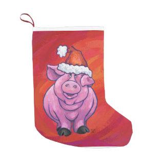 Niedliches Schwein in der Weihnachtsmannmütze auf Kleiner Weihnachtsstrumpf