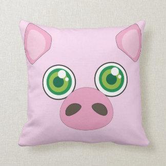 Niedliches Schwein mit grüne Augen rosa Kissen