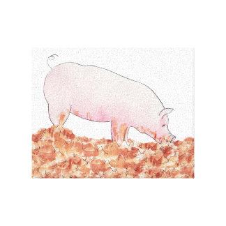 Niedliches Schwein Schlamm-in der lustigen Leinwanddruck
