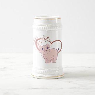 Niedliches Schwein-und Strudel-Herz Bierglas