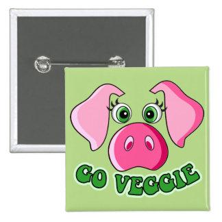 Niedliches Schwein, Vegetarier Quadratischer Button 5,1 Cm