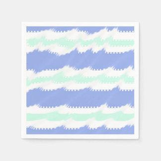 Niedliches Singrün und grüne Streifen und Welle Servietten