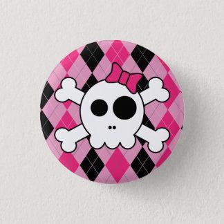 Niedliches Skully und Raute Runder Button 2,5 Cm