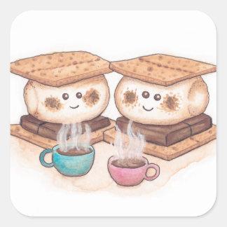 Niedliches S'mores Paar-Kaffee-Datum Quadratischer Aufkleber