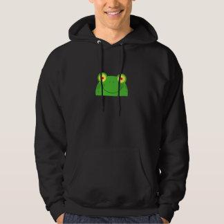 niedliches spähendes Cartoonfrosch Froggygesicht Hoodie